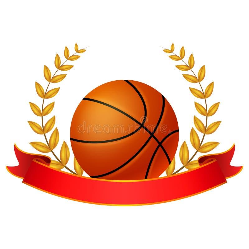 篮子球与红色丝带的月桂树花圈 皇族释放例证
