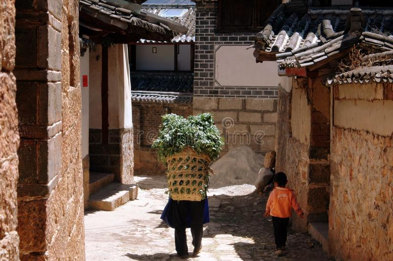 篮子瓷shu秸杆妇女 库存照片