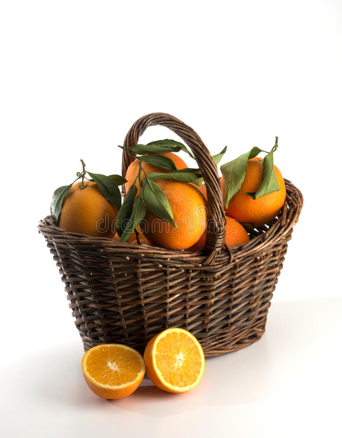 篮子用桔子 免版税图库摄影