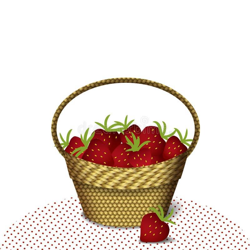 篮子用草莓 向量例证