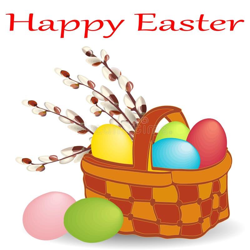 篮子用被绘的鸡蛋和开花的杨柳花束与复活节快乐愿望的在白色背景的 皇族释放例证