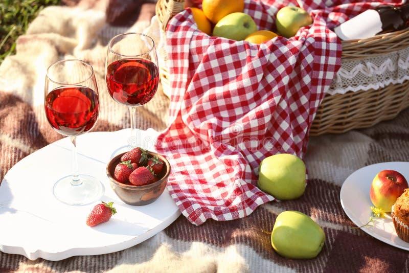 篮子用食物和杯在为浪漫野餐准备的格子花呢披肩的酒在公园 库存图片