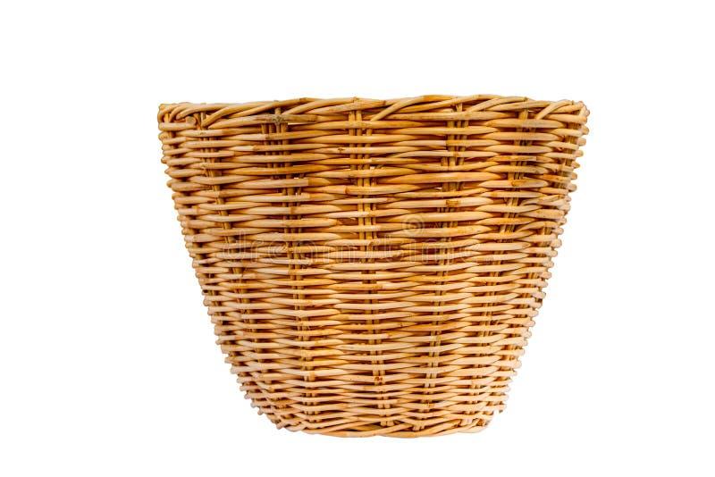 篮子空的查出的空白柳条 库存图片