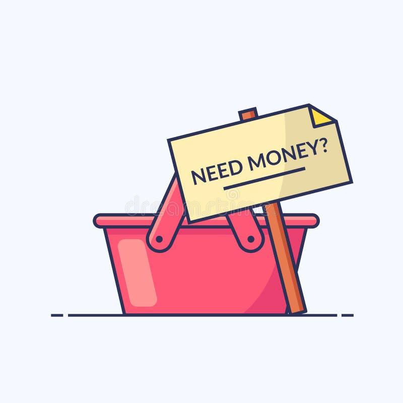篮子空的购物 与词的标志需要金钱 您的时事通讯或站点的象 概述平的例证 库存例证