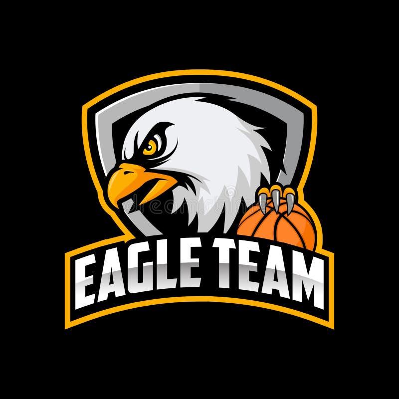 篮球与老鹰顶头例证的商标队 向量例证