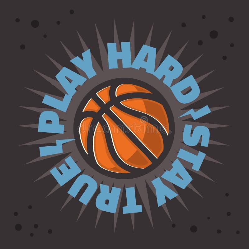 篮球主题的口号T恤杉印刷品设计向量图形 向量例证