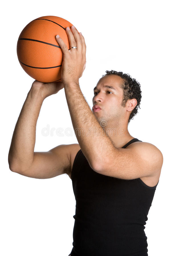篮球人射击 免版税库存照片
