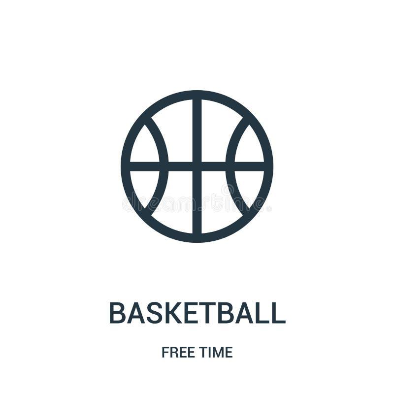 篮球从时间汇集的象传染媒介 稀薄的线篮球概述象传染媒介例证 线性标志为使用 向量例证