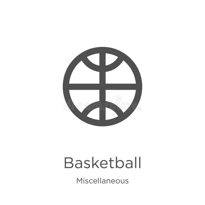 篮球从混杂收藏的象传染媒介 稀薄的线篮球概述象传染媒介例证 概述,稀薄的线 向量例证