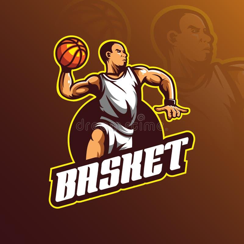 篮球传染媒介商标与现代例证概念样式的设计吉祥人徽章、象征和T恤杉打印的 篮球比赛 库存例证