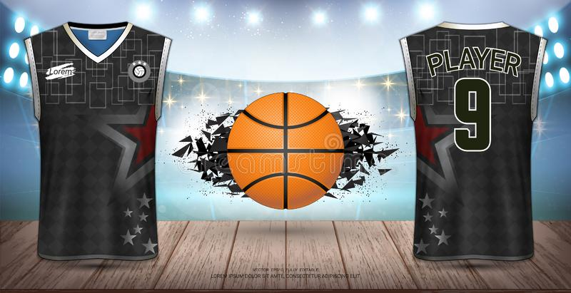 篮球制服&球衣、无袖衫和无袖的衬衣炫耀大模型模板 向量例证