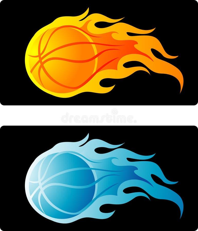 篮球发火焰 库存例证