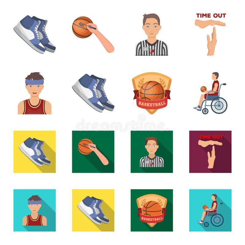 篮球和属性动画片,在集合汇集的平的象的设计 蓝球运动员和设备传染媒介标志 向量例证