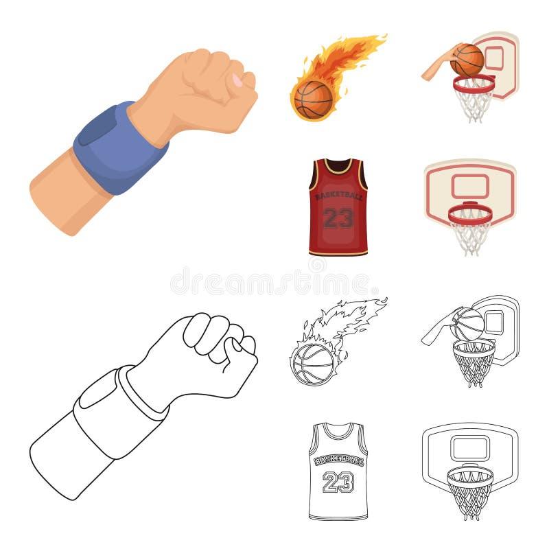篮球和属性动画片,在集合汇集的概述象的设计 蓝球运动员和设备传染媒介 库存例证