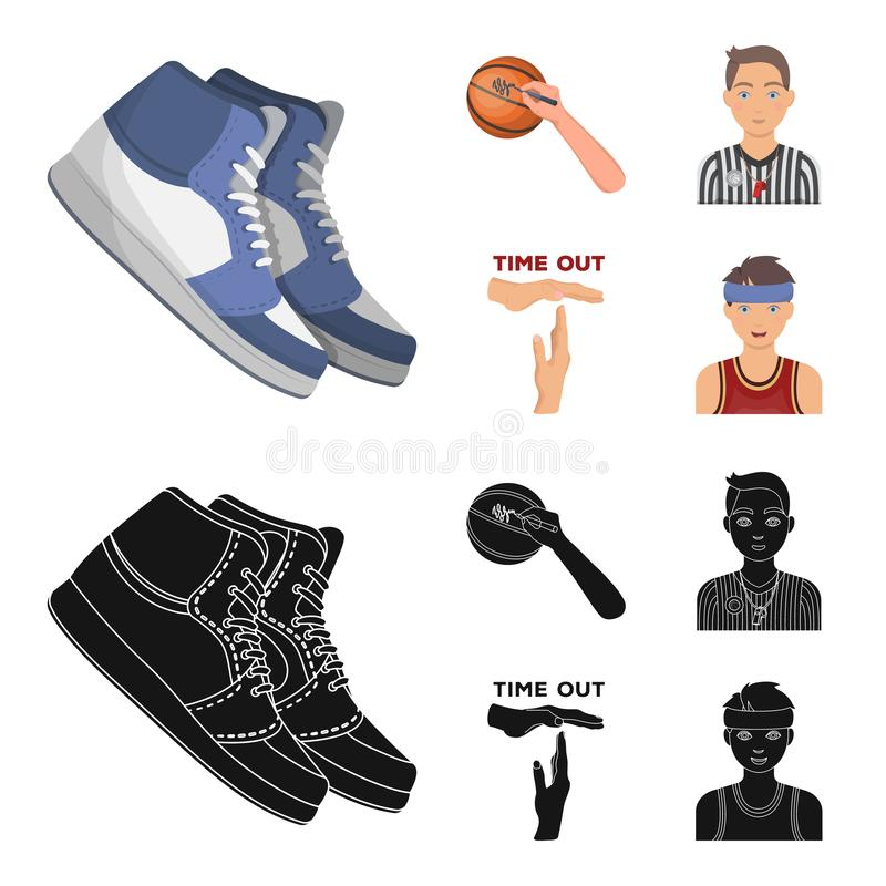 篮球和属性动画片,在集合汇集的黑象的设计 蓝球运动员和设备传染媒介标志 皇族释放例证