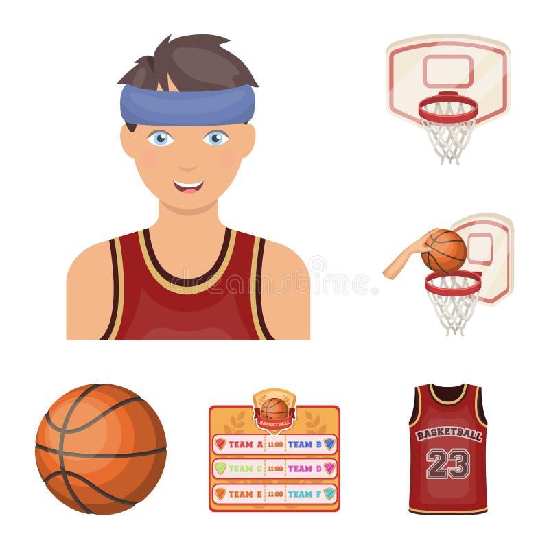篮球和属性在集合汇集的动画片象的设计 蓝球运动员和设备传染媒介标志股票 向量例证