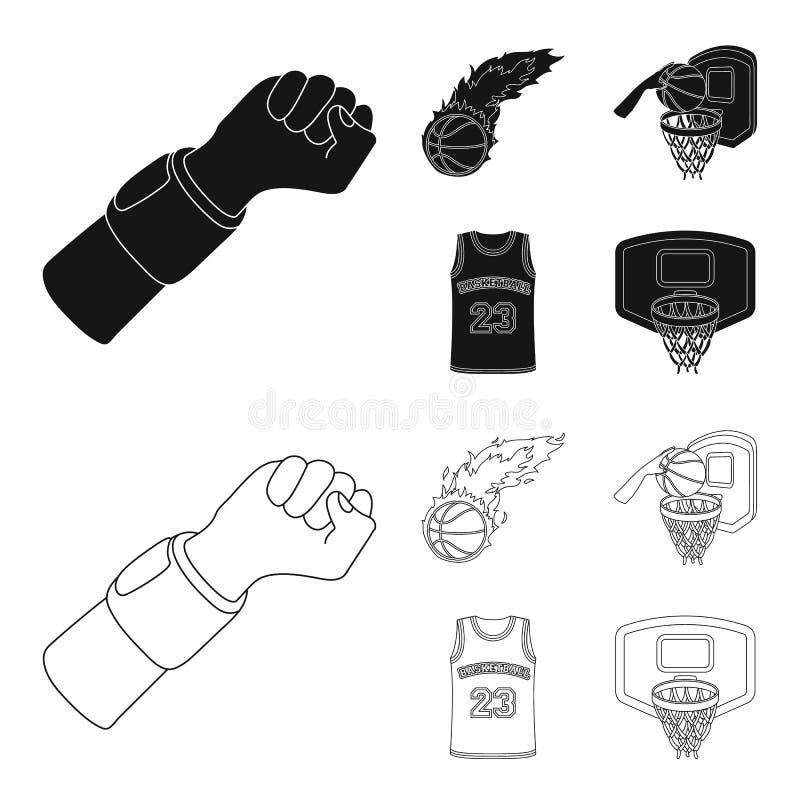 篮球和属性染黑,概述在集合汇集的象的设计 蓝球运动员和设备传染媒介标志 向量例证