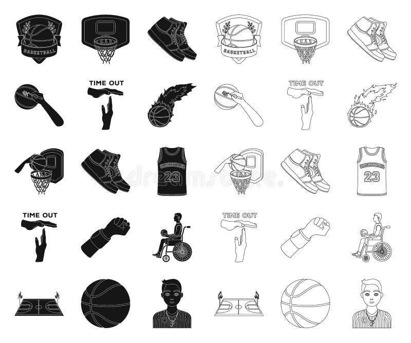 篮球和属性染黑,概述在集合汇集的象的设计 蓝球运动员和设备传染媒介标志 皇族释放例证