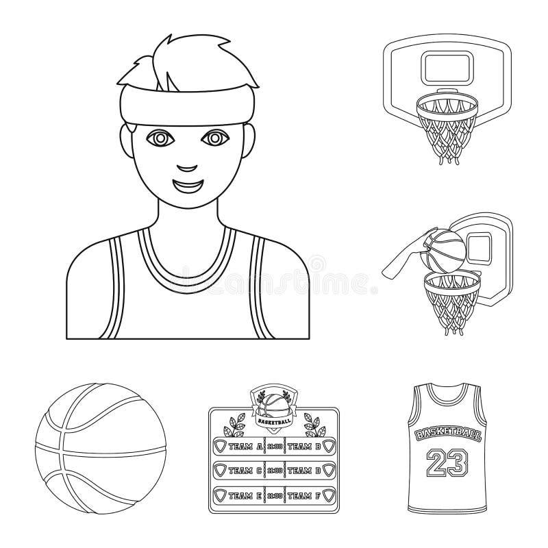 篮球和属性概述在集合汇集的象的设计 蓝球运动员和设备传染媒介标志股票 皇族释放例证