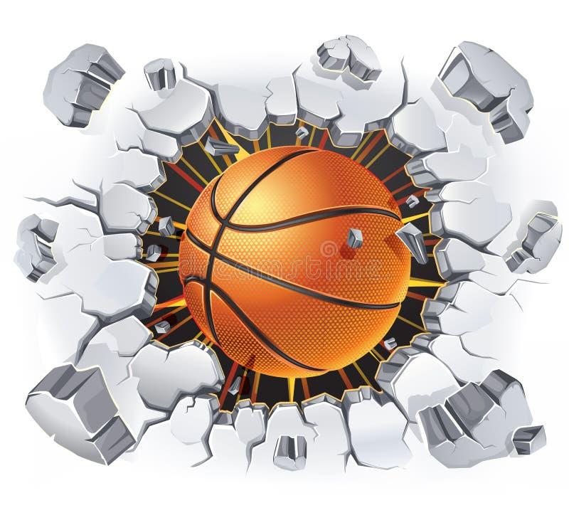 篮球和老膏药墙壁损伤。 库存例证