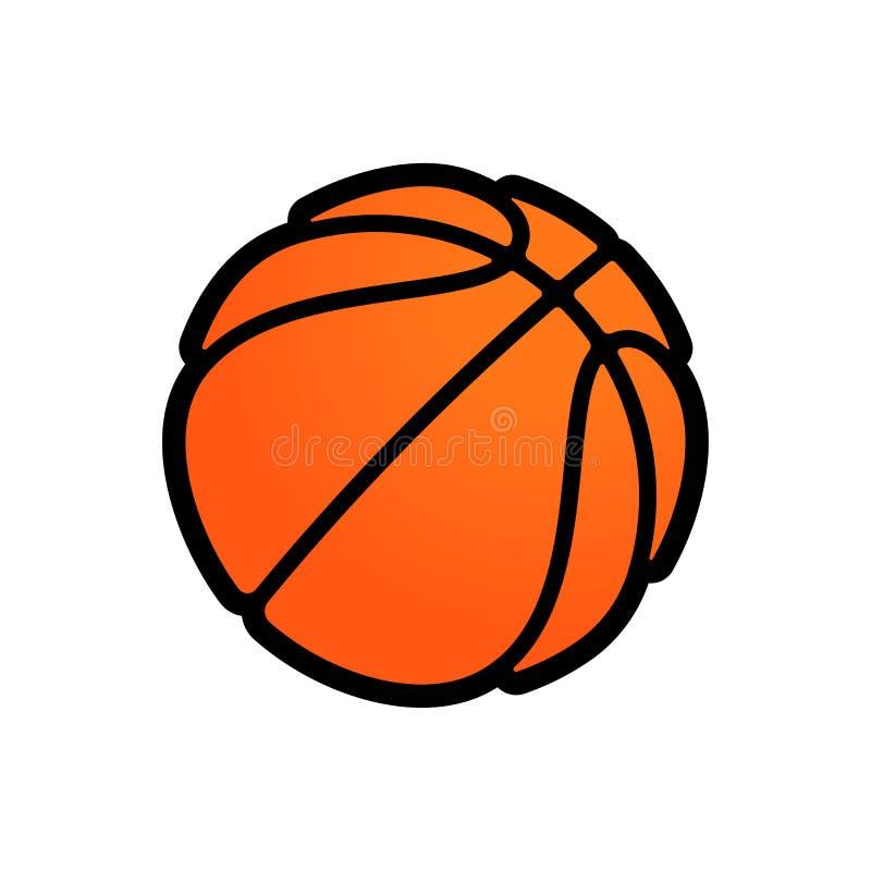篮球商标streetball冠军比赛、学校或者学院队同盟的传染媒介象 传染媒介平的橙色篮子球 库存例证