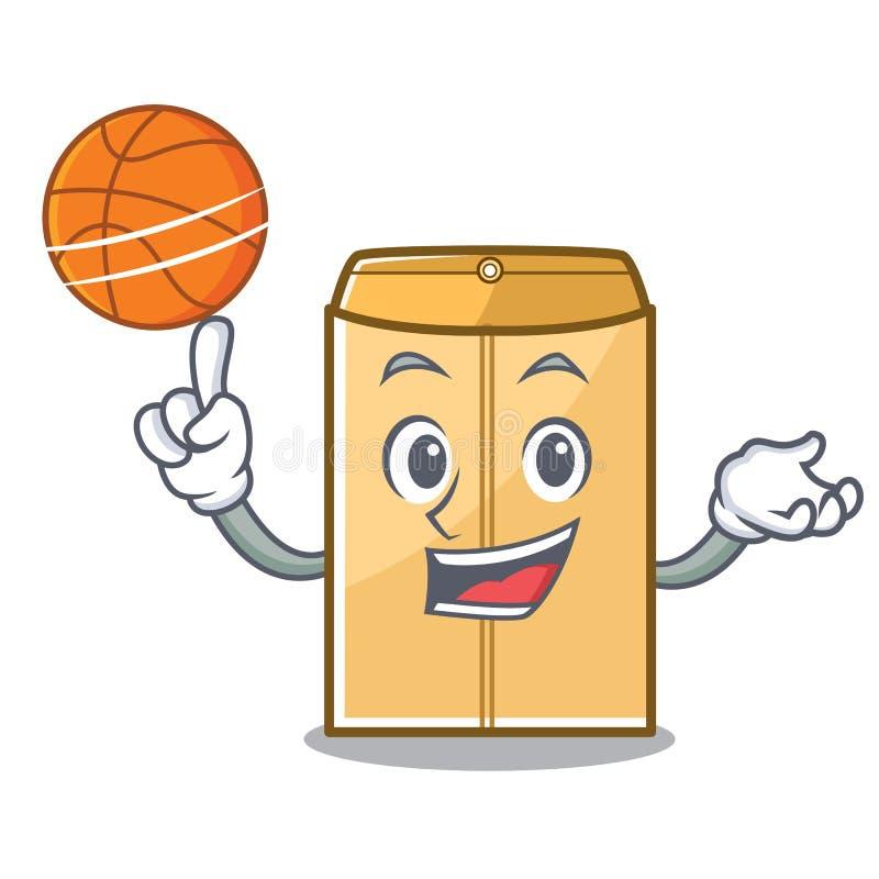 篮球在字符形状的邮件信封 库存例证