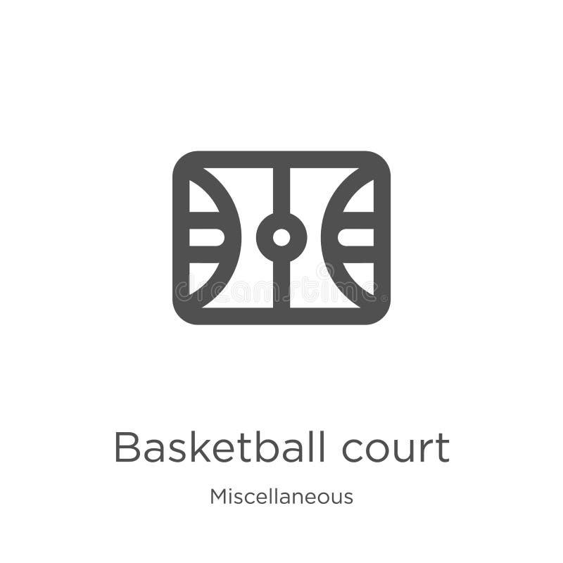 篮球场从混杂收藏的象传染媒介 稀薄的线篮球场概述象传染媒介例证 概述, 向量例证