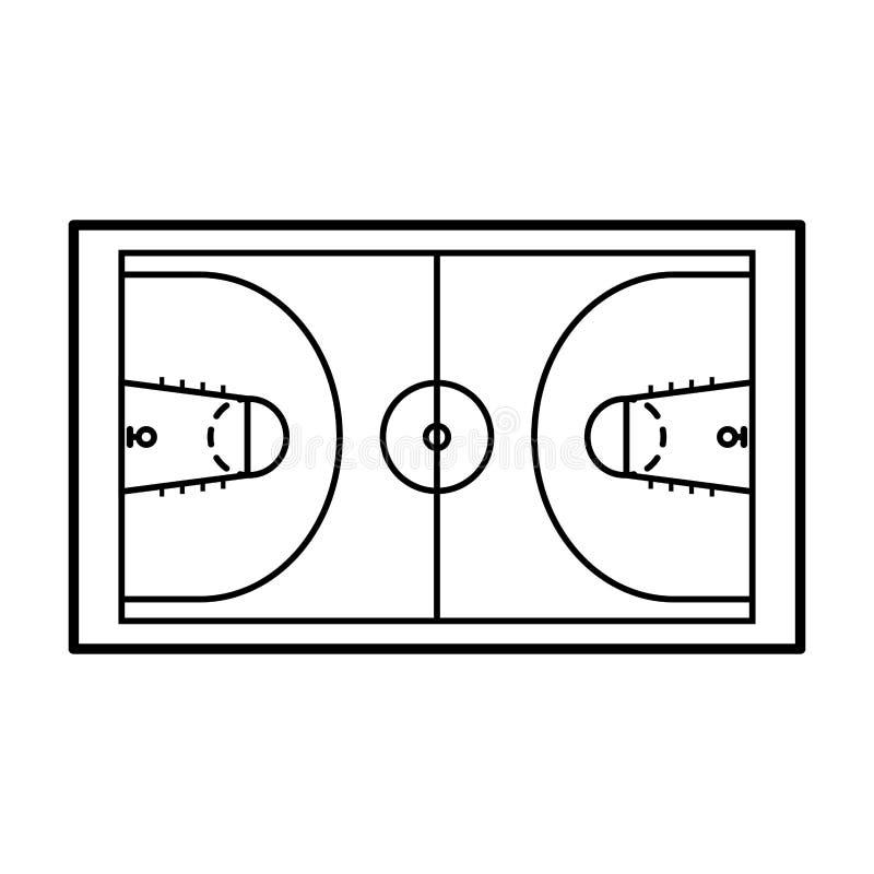 篮球场被隔绝的象 向量例证