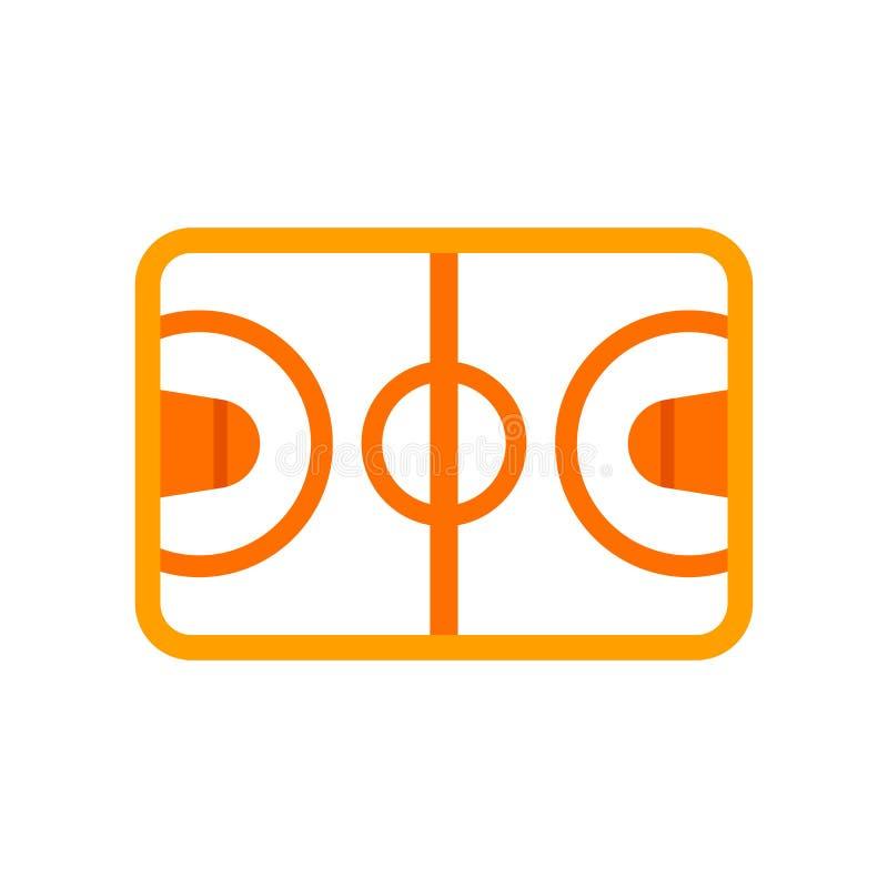 篮球场象在白色背景和标志隔绝的传染媒介标志,篮球场商标概念 向量例证