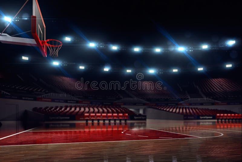 篮球场,如果例证 竞技场雨体育运动体育场 皇族释放例证