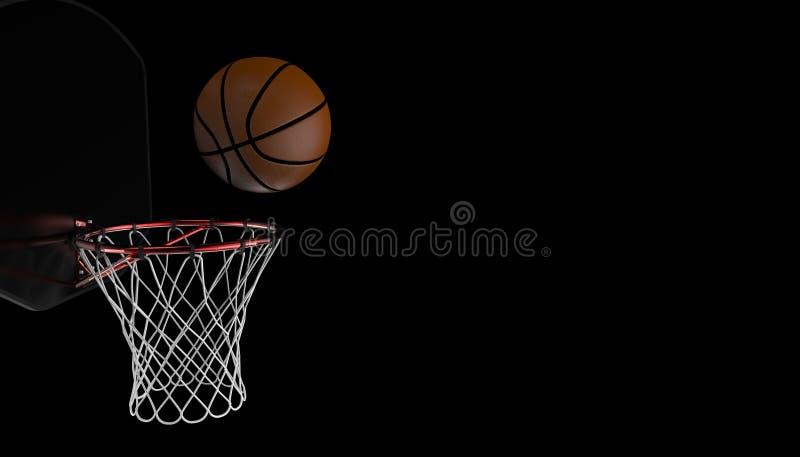 篮球射击 专业关闭在黑背景和体育健身 皇族释放例证