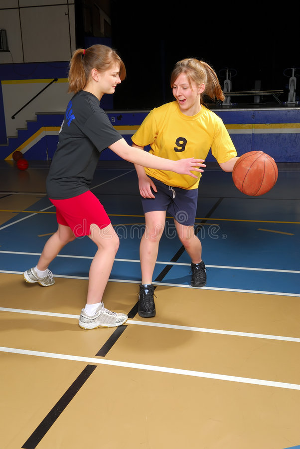 篮球并列争球 库存照片