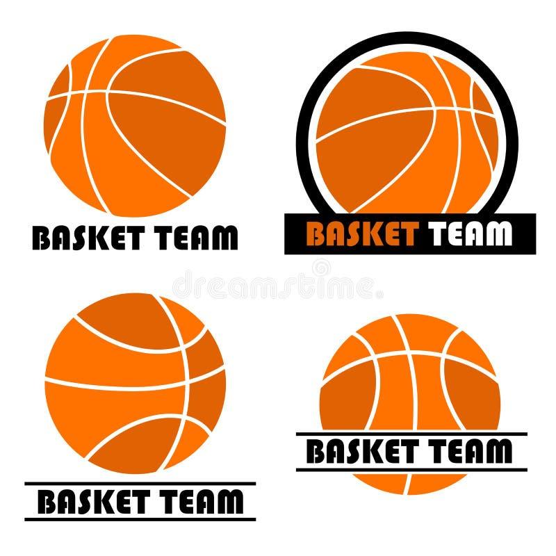 篮球徽标集 库存例证