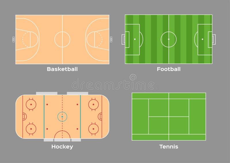 篮球橄榄球曲棍球和网球场传染媒介/体育/顶视图, 库存例证