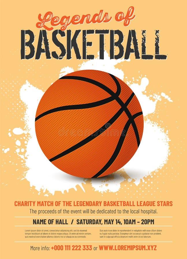 篮球比赛在减速火箭的样式的海报模板 库存例证