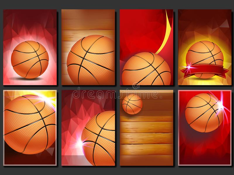 篮球海报集合传染媒介 设计的空的模板 背景球篮球查出的白色 比赛 体育比赛公告 钞票 库存例证