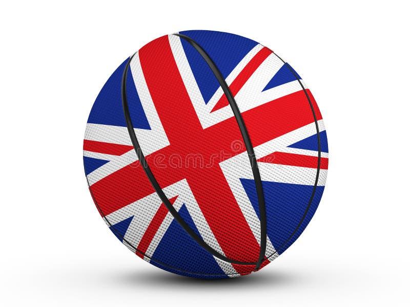 篮球球英国旗子 库存例证
