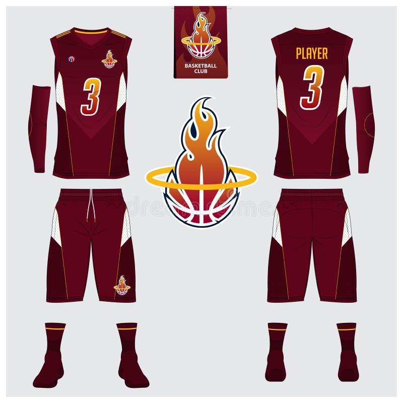 篮球球衣,短裤,殴打篮球俱乐部的模板 前面和后面看法体育制服 无袖衫T恤杉嘲笑 库存例证