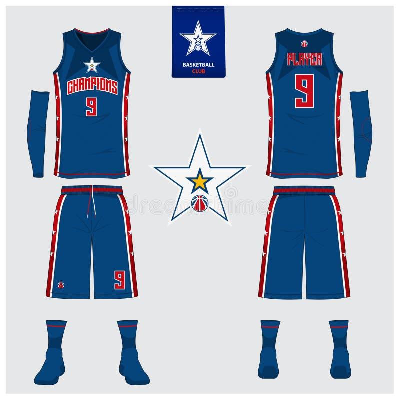 篮球球衣,短裤,殴打篮球俱乐部的模板 前面和后面看法