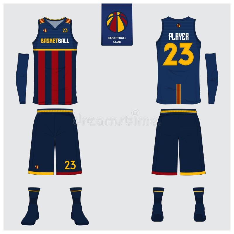 篮球球衣,短裤,殴打篮球俱乐部的模板 前面和后面看法体育制服 无袖衫T恤杉嘲笑 向量例证