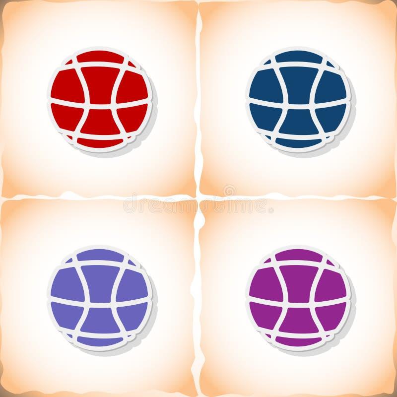 篮球球 与阴影的平的贴纸在老纸 皇族释放例证