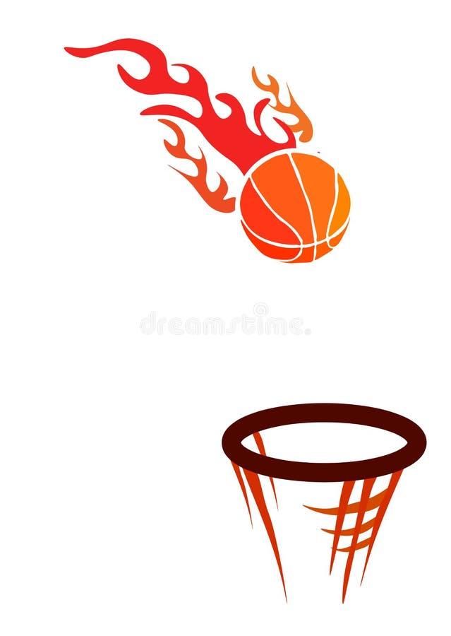 ? 篮球社团的传染媒介商标,包括在一个篮子的橙色火火焰灼烧的篮球球与净滤网 向量例证