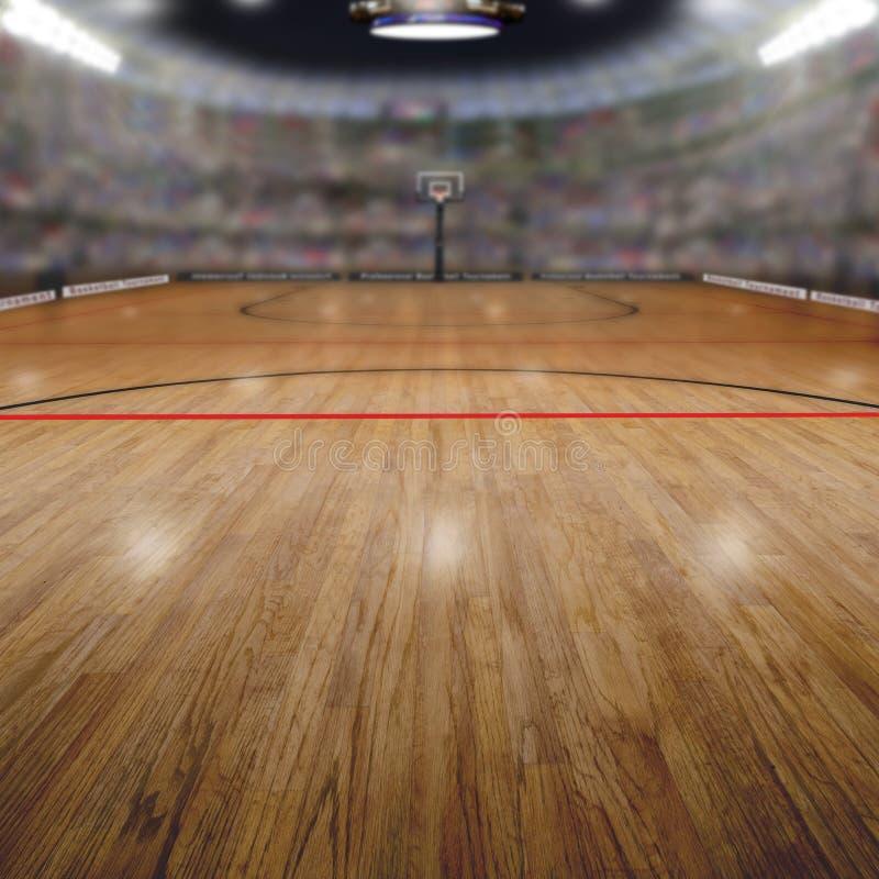 篮球竞技场有拷贝空间背景 库存图片