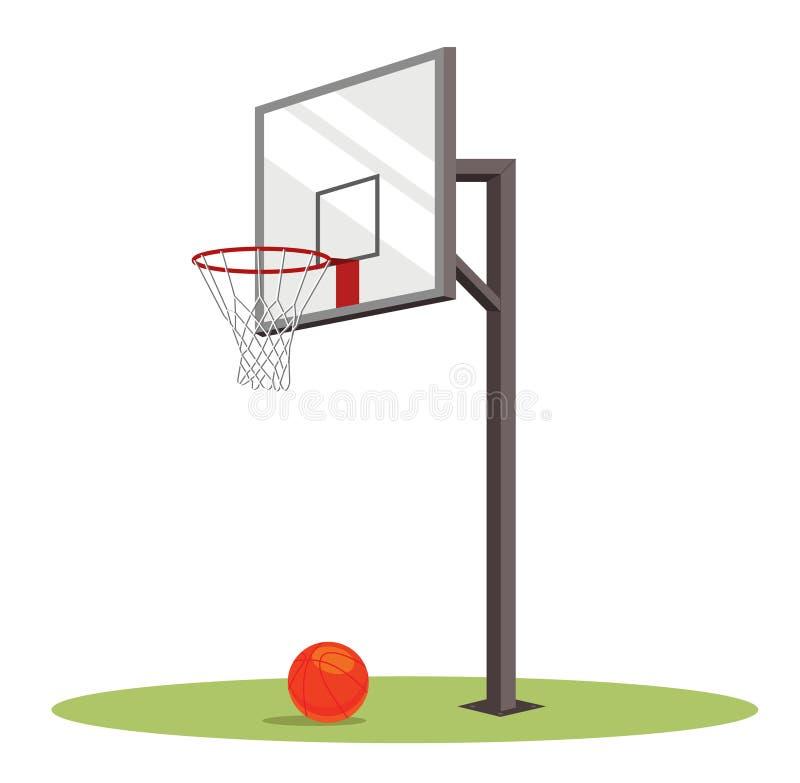 篮球篮子和球在绿色领域 库存例证