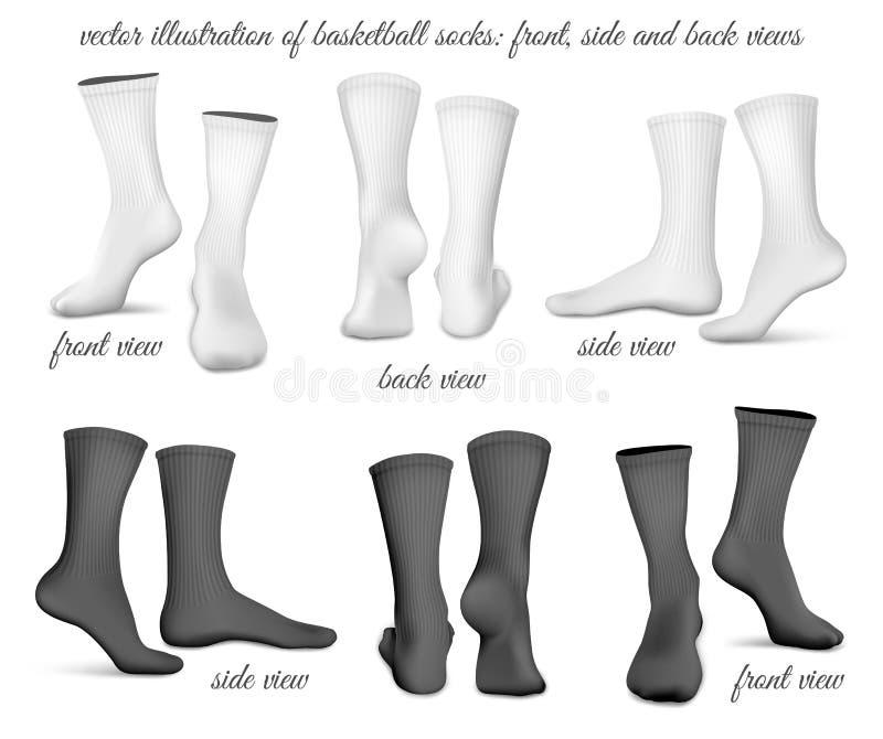 篮球袜子 前面 旁边和后面看法 向量例证