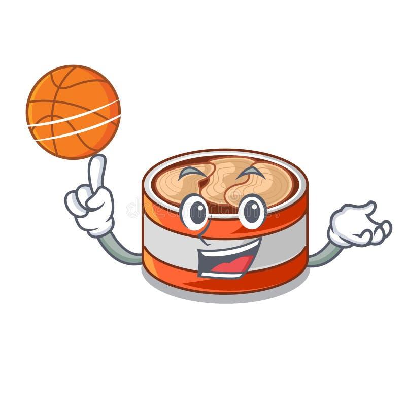 篮球装金枪鱼于罐中隔绝与在吉祥人 皇族释放例证