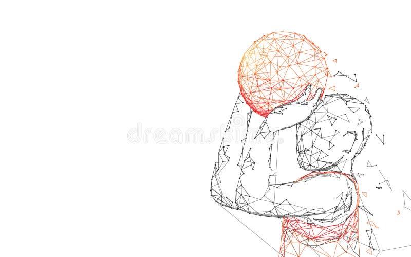 篮球运动员射击形式线、三角和微粒样式设计 库存例证