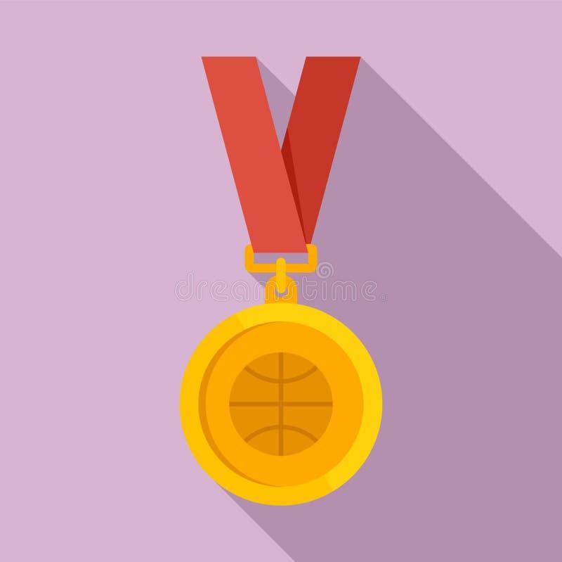 篮球金牌象,平的样式 库存例证