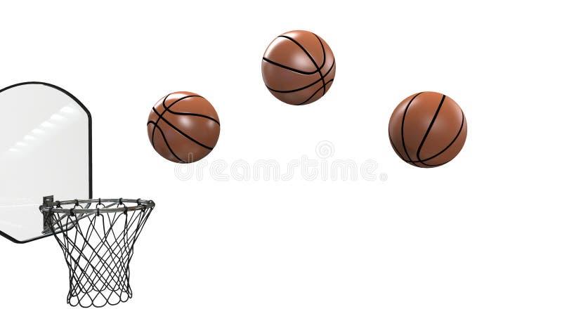 篮球,在黑背景和体育健身在箍关闭的球隔绝的 皇族释放例证