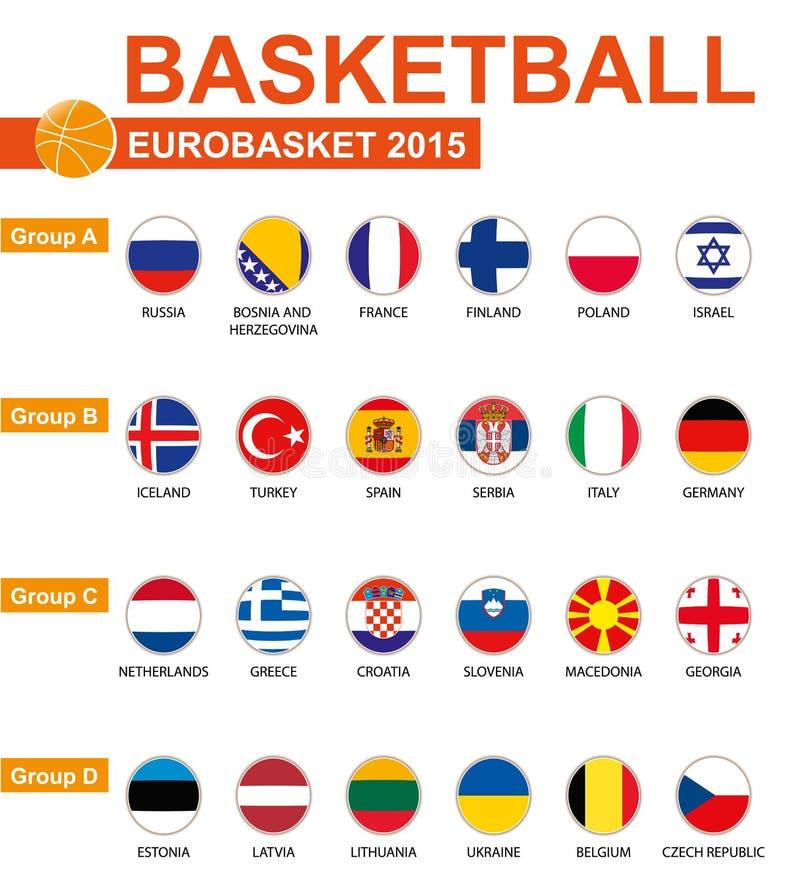 篮球,欧洲篮球锦标赛2015年,所有小组,所有旗子 库存例证